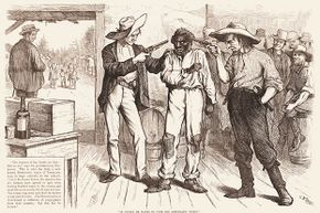 """This 1876 cartoon shows two white men pointing guns at a black voter. The text reads: """"Of course he wants to vote the Democratic ticket! Democratic 'Reformer': You're as free as the air, ain't you? Say you are, or I'll blow your black head off!"""""""