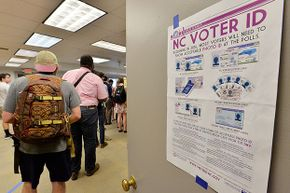 North Carolina State University students wait to vote in the primaries. The North Carolina 2016 primaries were the state's first use of the voter ID law, which excludes student ID cards.