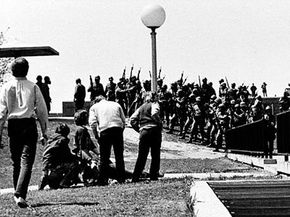 Protests Image Gallery A photo taken of a wounded person immediately after the Ohio National Guard shot into the crowd at Kent State on May 4, 1970. See more pictures of protests.