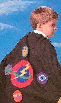 """Attach """"power symbols"""" to your superhero cape."""