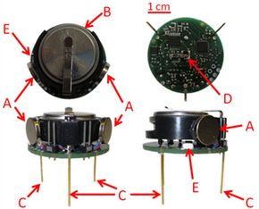 Meet the Kilobot. Clockwise from the top left corner, you're looking at the top, bottom, side and front views, respectively. You can also see the different parts of a Kilobot: A) vibration motors, B) lithium ion battery, C) supporting legs, D) infrared transmitter/receiver and E) LED. See more robot pictures.