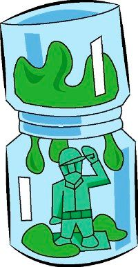 The slime flows slowly onto the toy soldier because the slime has a high viscosity.