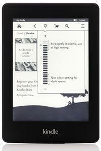 The Kindle Paperwhite with light adjustment function open.