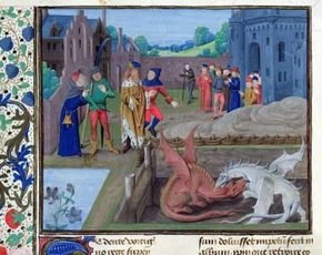 The battle of the red and white dragons with the King and Merlin looking on