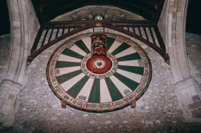 The round table that hangs in Winchester Castle, once thought to be King Arthur's