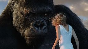 The digital King Kong was inserted into the live-action footage during the post-production stage, after the live actors had all gone home.