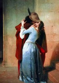 """This painting, called """"Kiss,"""" was painted by Francesco Hayez in the 19th century. Before the 19th century, kisses did not appear frequently in Western artwork."""