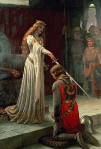 """""""The Accolade"""" by Edmund Blair Leighton. Women, with the exception of a queen, rarely conferred knighthood."""