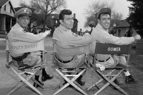 """Actors Don Knotts, Andy Griffith and Jim Nabors on the set of """"The Andy Griffith Show."""""""
