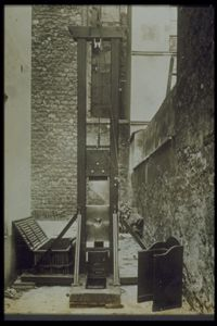 A guillotine in an alley in France, circa 1920