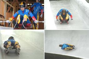 The initial push-off (top left); paddling through the start of the course (top right); lying flat on the sled (bottom left) and navigating a high-banked curve (bottom right)