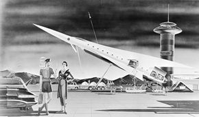 Artist's impression of space travel circa 1958: a Lunar Liner designed to transport people to and from the moon. How close are we to this futuristic dream?