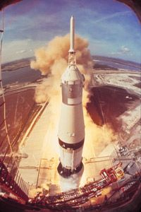 Apollo 11 lifted off aboard the powerful Saturn V rocket.