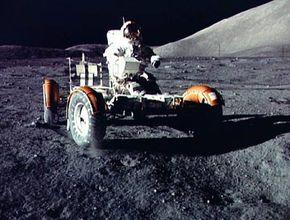 Apollo 17 Commander Gene Cernan driving the LRV