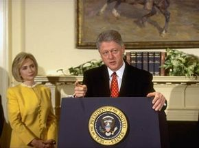 Bill Clinton, pictured here with wife Hillary Clinton, emphatically denied an affair with Monica Lewinsky.