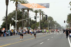 Runners at the 25th Los Angeles Marathon with less then 1K to the finish line in Santa Monica, California on March 21, 2010.