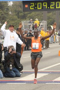 Wesley Korir duplicated his 2009 win with a victory at the LA Marathon on March 21, 2010.