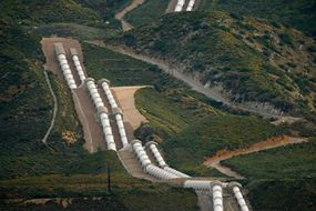 The east branch of the California Aqueduct cascades down mountainsides and uses gravity to pipe water into the city.