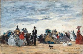 La Plage de Trouville by Eugène Boudin is an oil on (10-3/8 x 16 inches) that can be seen at Musée d'Orsay, Paris. See more pictures of Impressionist paintings.