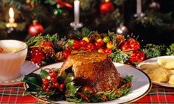 Plum Pudding is traditionally served at Christmas in England.