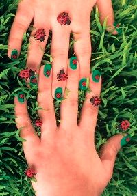 Draw attention with these colorful nails.