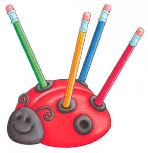 Make a ladybug pencil holder.