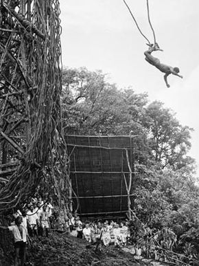 A crowd watches John Tabi perform a land dive. Among the onlookers are Queen Elizabeth and Prince Philip. See more pictures of extreme sports.