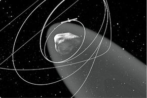 Artist's impression of Rosetta arriving at comet 67P/Churyumov-Gerasimenko in August 2014