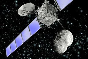 Artist's impression of Rosetta as it flew by asteroid Steins on Sept. 5, 2008