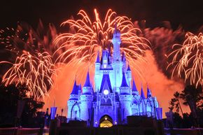 Fireworks explode over Walt Disney World's Magic Kingdom in Orlando, Fla. The wily Mr. Disney bought the land for the theme park through land trusts to disguise the real buyer and keep prices down.