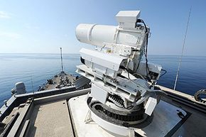 The interim Afloat Forward Staging Base on the USS Ponce conducts an operational demonstration of the laser weapon system (LaWS) while deployed to the Persian Gulf.