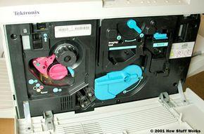 Inside a color laser printer