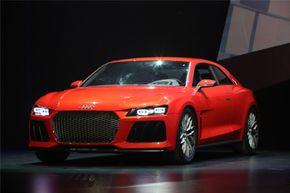 The Audi Sport quattro laserlight concept car on display at the 2014 AUDI CES Keynote presentation in Las Vegas, Nevada.