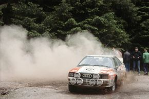 The Audi Sport quattro laserlight concept's styling builds on the heritage of Audi rally cars from the 1980s.