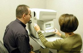 The auto-refractor calculates the approximate level of vision correction I need.
