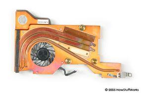 A laptop heat sink and fan