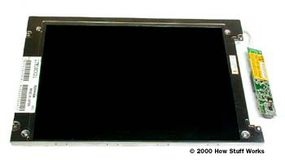 This back view of the Toshiba's LCD panel is showing the fluorescent tube that provides the light and the screen that diffuses the light evenly over the surface.