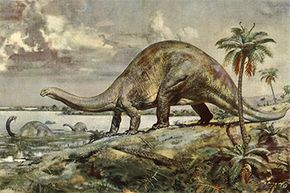 A titanic sauropod considers a dip in this mid-20th-century illustration by Czech artist Zdeněk Burian.