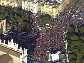 Protesters fill St. John Lateran square during an antiwar rally in Rome on Feb. 15, 2003. An estimated 3 million participants turned out for the event.