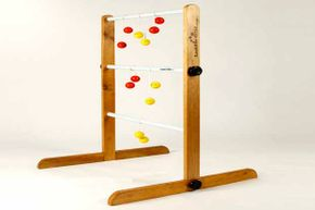 You can buy a ladder ball game (under the trademark Ladder Golf) but you can build your own set as well.