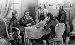 Benjamin Franklin (standing center) was the oldest original signer of the Decalaration of Independence.