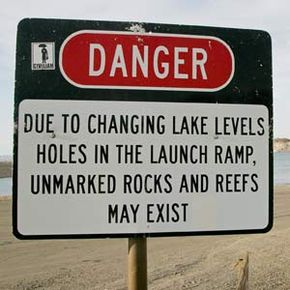 Pay attention to any warning signs in the boat launch area like this one at Lake Mead -- they could save your boat!