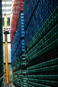 Finished Lego elements wait to go into packages in a storage facility in Billund, Denmark.