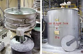 Slurry for ivory china (left) and a holding tank for ivory slurry (right)
