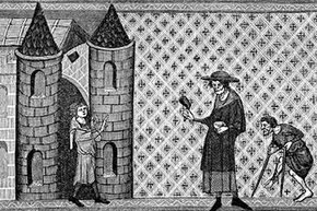 This picture of a 'leper house' is from a 13th century manuscript.