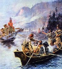 Sacajawea interprets Lewis and Clark's intentions to the Chinook Indians.