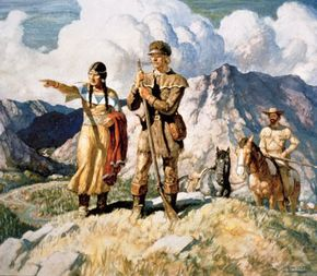 Painting of Sacajawea with Lewis and Clark