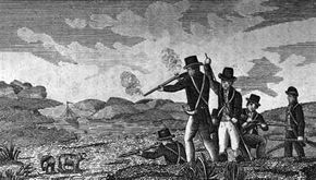 Captain Clark and his men shooting bears.