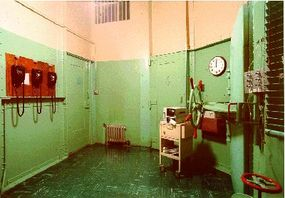 The drugs are administered from inside this anteroom. Phones on the wall provide a connection to state officials who have the authority to stay the execution.