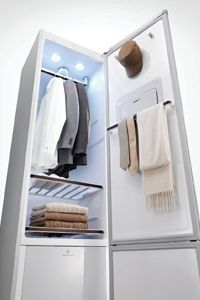 Yes, it looks like a fridge. But this machine is actually designed to provide hot, steamy air that penetrates clothes.